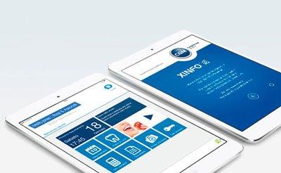 Immagini schermata App XINFO su tablet iPad - Studio dentistico associato Motta Jones Rossi a Milano centro