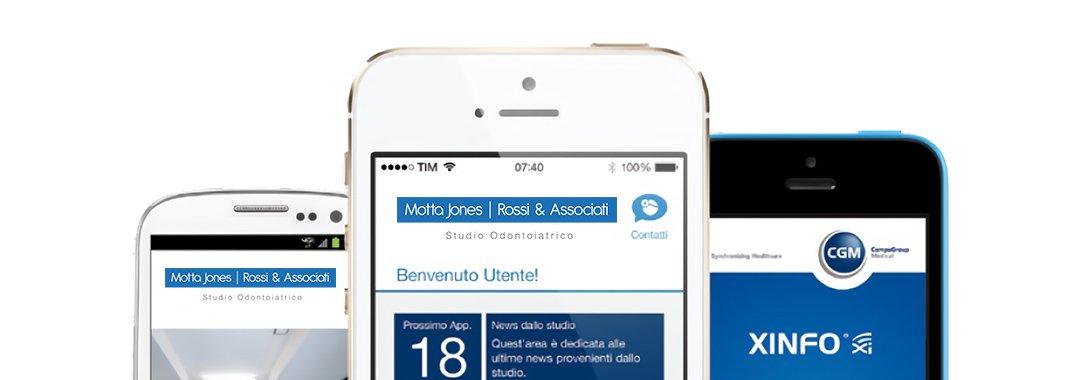 Immagini testate App XINFO su smartphone iPhone e Android - Studio dentistico associato Motta Jones Rossi a Milano centro